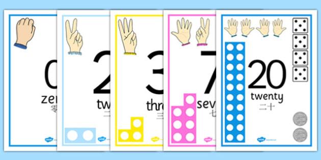 Visual Numberline Posters 1-20 Chinese Mandarin Translation - chinese mandarin, count, counting, counting aid