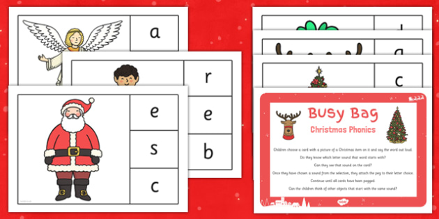 Christmas Phonic Matching Busy Bag Resources Pack for Parents - christmas, phonic, matching, busy bag