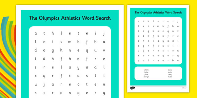The Olympics Athletics Word Search - the olympics, athletics, word search, wordsearch