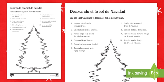 christmas tree decorating reading comprehension activity spanish christmas comprehension drawing colours