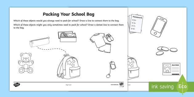 packing your school bag worksheet activity sheet young. Black Bedroom Furniture Sets. Home Design Ideas