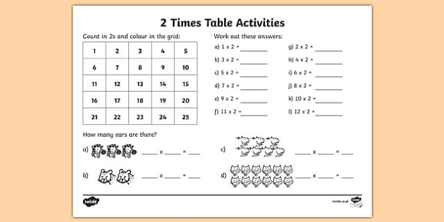 Worksheet New Work Maths Tables 2 times table activity sheet tables counting 2s 2