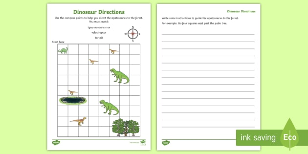 dinosaur directions instruction writing activity sheet. Black Bedroom Furniture Sets. Home Design Ideas
