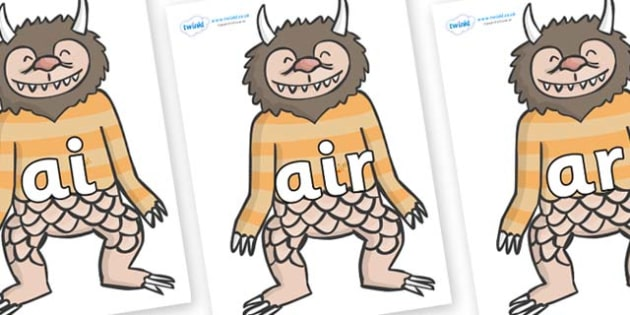 Phase 3 Phonemes on Wild Thing (1) to Support Teaching on Where the Wild Things Are - Phonemes, phoneme, Phase 3, Phase three, Foundation, Literacy, Letters and Sounds, DfES, display