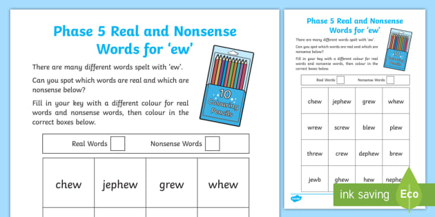 Phase 5 Ew Colour By Phoneme Real And Nonsense Words
