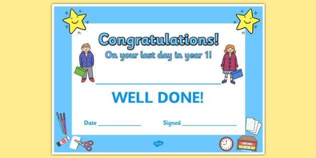 Last Day Award Certificates Year 1 - last day, award, certificates, year 1
