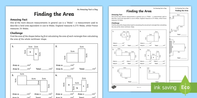 Finding the Area Worksheet / Activity Sheet - amazing fact