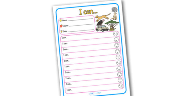 Themed Target and Achievement Sheets Safari Themed I Can - Target and Achievement Sheet, I Can Sheet, Target Sheet, Safari Themed