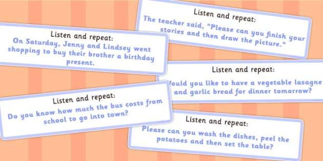 Listen and Repeat 14 Word Length Sentence Cards Set 2 - visual