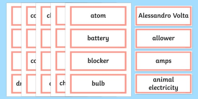 It's Electrifying Word Wall Display Cards - australia, Australian Curriculum, It's Electrifying, science, Year 6, word wall, display