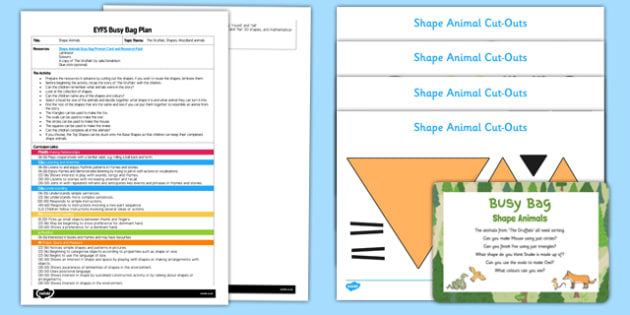 Shape Animals EYFS Busy Bag Plan and Resource Pack - EYFS, Maths, Shapes, triangles, squares, oval, circles