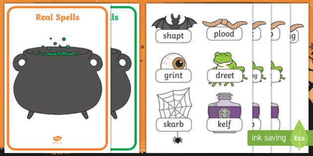 Halloween Themed Phase 4 Real and Nonsense Words Activity