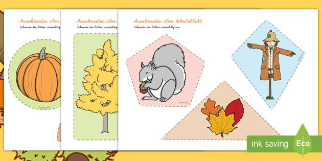 Herbst Ausschneiden üben Arbeitsblatt - herbstlich
