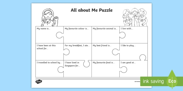 All About Me Puzzle Worksheet Activity Sheet Back To School