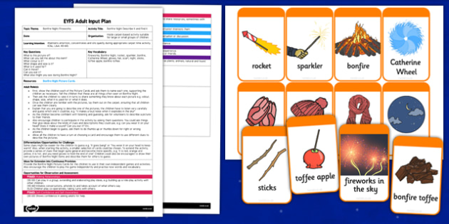 Bonfire Night Describe It and Find It EYFS Adult Input Plan and Resource Pack - bonfire night, describe