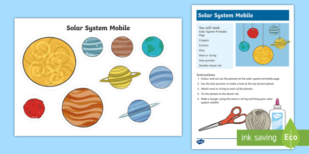 Solar System Mobile Craft Activity Space Solar System Galaxy Craft