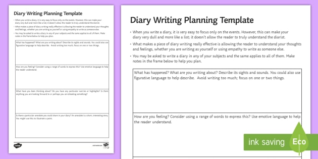 Gcse diary planning all subjects worksheet activity sheet for Diary writing template ks1