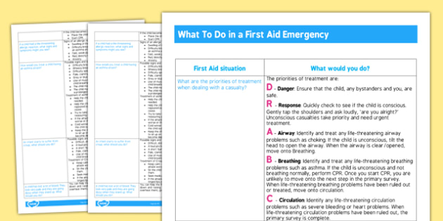 Childminder What to do in a First Aid Emergency Resource - First Aid, childminder, emergency, what to do