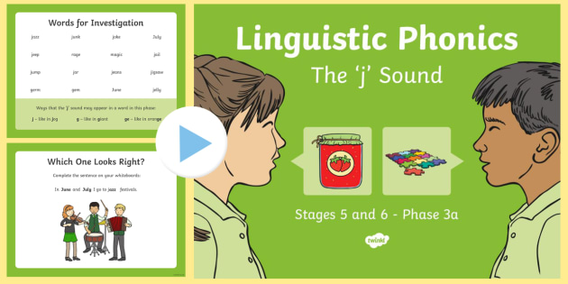 Northern Ireland Linguistic Phonics Stage 5 and 6 Phase 3a, 'j' Sound PowerPoint - Linguistic Phonics, Phase 3a, Northern Ireland, 'j' sound, sound search, word sort, investigatio