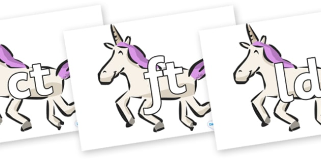 Final Letter Blends on Unicorns - Final Letters, final letter, letter blend, letter blends, consonant, consonants, digraph, trigraph, literacy, alphabet, letters, foundation stage literacy