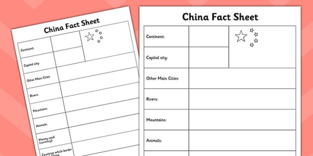 China Fact Sheet - china, fact sheet, fact, country, geography
