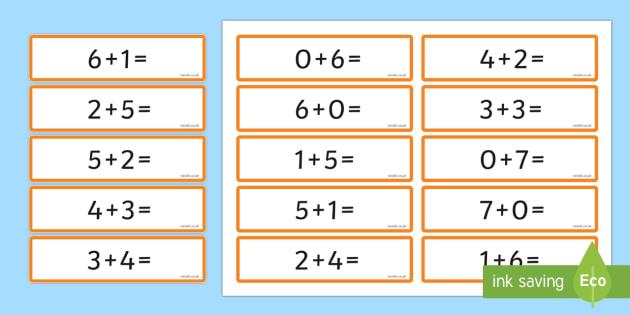 Number Bonds 6 and 7 Sentence Cards - number bonds, 6, 7, cards