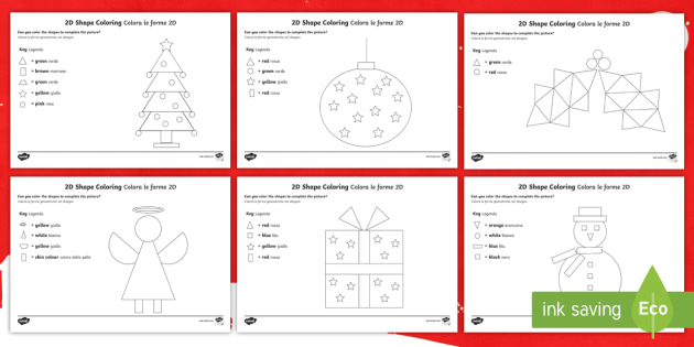 Christmas Colour By 2d Shape Worksheet Activity Sheet