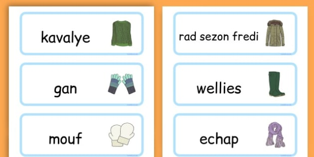 Winter Clothes Word Cards - winter clothes, word cards, winter, clothes - Haitian Creole