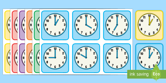 O'Clock Times Matching Cards - Measurement, measuring, measure, time, oclock, o'clock, clock face, tell the time