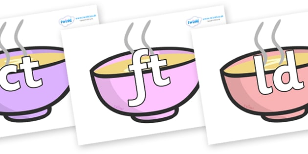 Final Letter Blends on Bowls - Final Letters, final letter, letter blend, letter blends, consonant, consonants, digraph, trigraph, literacy, alphabet, letters, foundation stage literacy