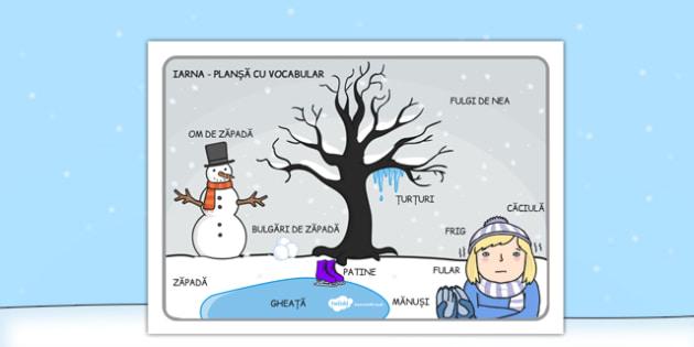 Scenă de iarnă - Planșă cu vocabular - scenă, iarna, planșă, vocabular, cuvinte, comunicare, imagini, materiale, materiale didactice, română, romana, material, material didactic