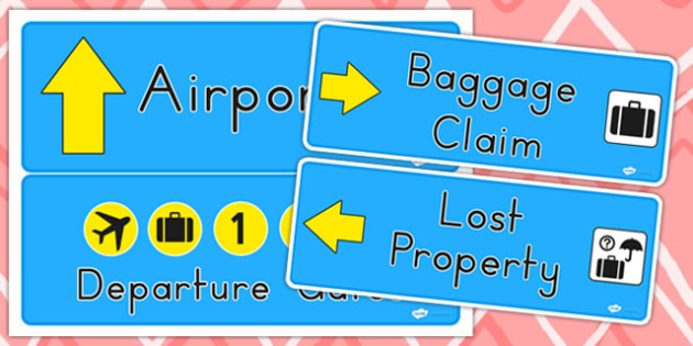 Airport Role Play Signs - airport, airline, role play, aeroplane