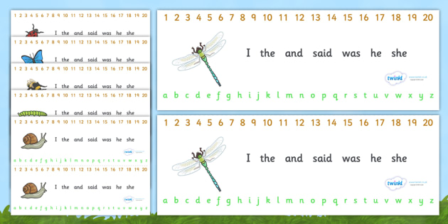 Number and Alphabet Strips (Minibeasts) - Alphabet, Numbers, Learning letters, Writing aid, Writing Area, Counting, Numberline, Number line, Counting on, Counting back