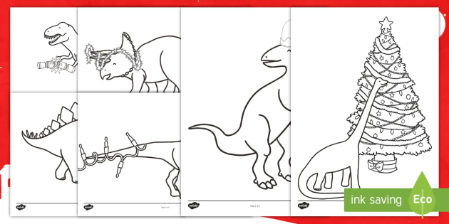 christmas dinosaurs colouring pages key stage one ks1 christmasaurusthemed fun