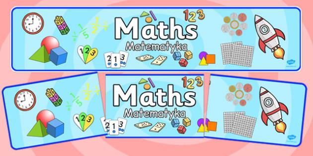 Maths Display Banner Polish Translation - title, information, working wall, display, KS1, Key stage 1