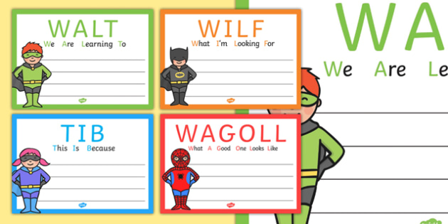 Superhero Themed WALT WILF TIB WAGOLL Posters - teaching aid