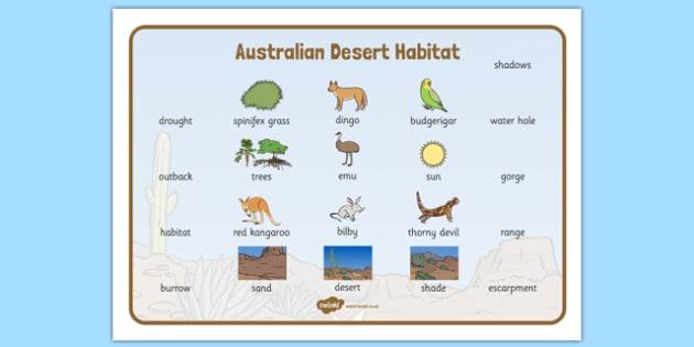 Australian Desert Habitat Word Mat - Science, Year 1, Habitats, Australian Curriculum, Desert, Outback, Living, Living Adventure, Good to Grow, Ready Set Grow, Life on Earth, Environment, Living Things, Animals, Plants, Word Mat