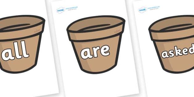 Tricky Words on Flower Pots (Plain) - Tricky words, DfES Letters and Sounds, Letters and sounds, display, words