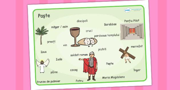Povestea sărbătorii de Paști - Planșă cu imagini și cuvinte - poveste, sărbătoare, Paști, Paște, planșă, imagini, cuvinte, religie, primăvară, materiale, materiale didactice, română, romana, material, material didactic