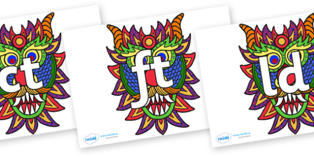 Final Letter Blends on Chinese New Year Dragon Mask - Final Letters, final letter, letter blend, letter blends, consonant, consonants, digraph, trigraph, literacy, alphabet, letters, foundation stage literacy