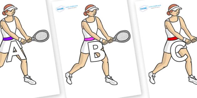 A-Z Alphabet on Tennis Players - A-Z, A4, display, Alphabet frieze, Display letters, Letter posters, A-Z letters, Alphabet flashcards