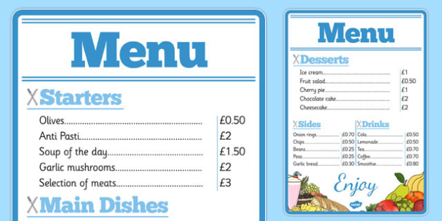 Restaurant Role Play Menu - roleplay, props, eating, food, menus