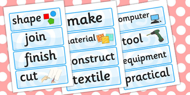 Design Technology Word Cards - design and technology, word, cards