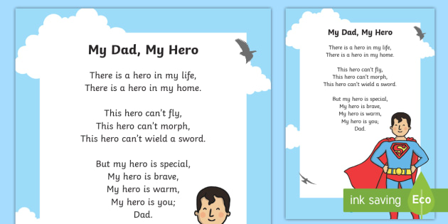My Dad My Hero Poem Canada Fathers Day 18th June Father Dad