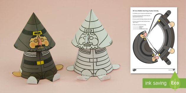 Simple 3D Guy Fawkes Cone Bobble Head Activity Paper Craft