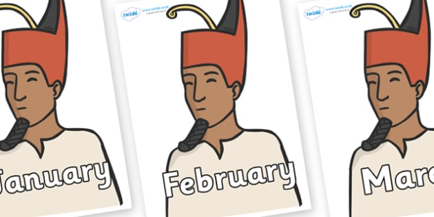 Months of the Year on Egyptian Kings - Months of the Year, Months poster, Months display, display, poster, frieze, Months, month, January, February, March, April, May, June, July, August, September