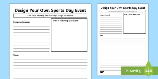 design your own sports day event worksheet worksheet sport 39 s day sport 39 s. Black Bedroom Furniture Sets. Home Design Ideas
