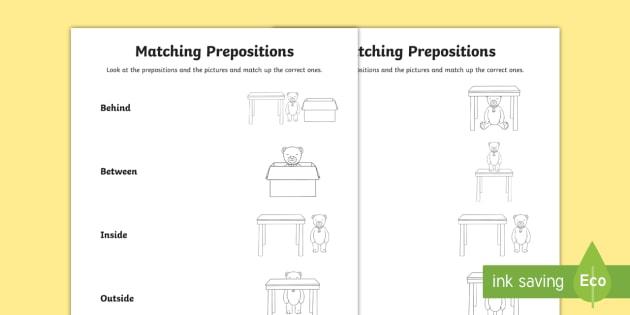 Matching Prepositions Activity Teacher Made