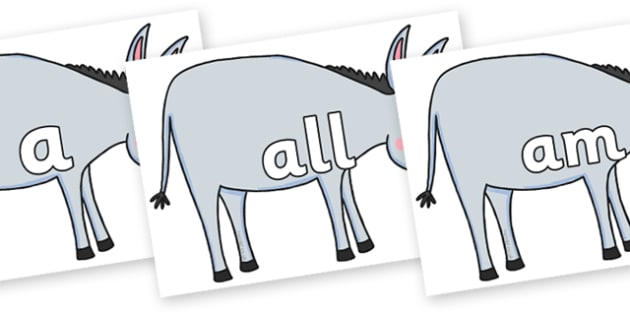Foundation Stage 2 Keywords on Hullabaloo Donkey to Support Teaching on Farmyard Hullabaloo - FS2, CLL, keywords, Communication language and literacy,  Display, Key words, high frequency words, foundation stage literacy, DfES Letters and Sounds, Lett