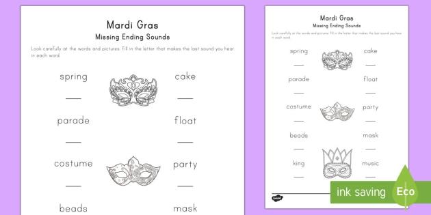 Mardi Gras Missing Sounds Worksheet / Activity Sheet - Mardi
